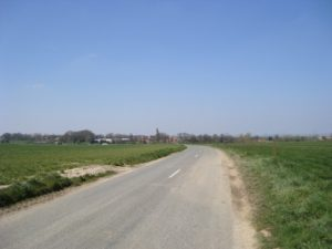 View of Martinpuich on the road from High Wood – 2008 (Author's collection).