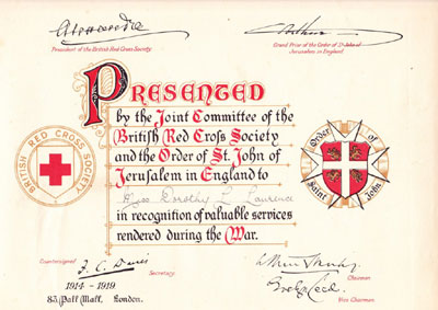 Red Cross Certificate in Recognition of Valuable Service